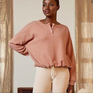 American Eagle Cream Henley Pullover Sweatshirt